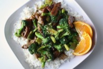 Beef and Broccoli Stir Fry Dawn's Top Tip - This delicious family meal can be prepared in less than half an hour. Prefect for a busy week days when tummies are empty and time is tight. Excellent source of iron, without the troublesome calories! Ingredients 200g Beef (choose cut suitable for stir-frying) 1/2 Brown Onion, chopped 1/2 broccoli head, cut into bite sized pieces 1 tsp Minced Garlic 1 tsp Light Soy Sauce* 1 Tbsp Oyster Sauce* 1/2 tsp Sesame Oil* Dash of Pepper* 1/2 Tbsp Black Bean Sauce 1 tsp Cornflour mixed with 100ml Water Method: 1. Slice beef thinly, across the grain. 2. Tenderize the beef slices with a meat mallet. 3. Add seasoning ingredients* to the beef slices and mix well 4. Heat a small amount of cooking oil in a wok. Stir-fry onions, garlic and broccoli pieces. 5. When fragrant, add in the black bean sauce and stir for 30 seconds. 6. Add beef and stir-fry. Keep the ingredients moving with a flat wooden spatula. 7. When beef is almost cooked, add the cornflour mixture and stir until sauce is thick. 8. Remove from heat & serve with basmati rice. Serves 2 Preparation time – 15 minutes Cooking time 15 minutes